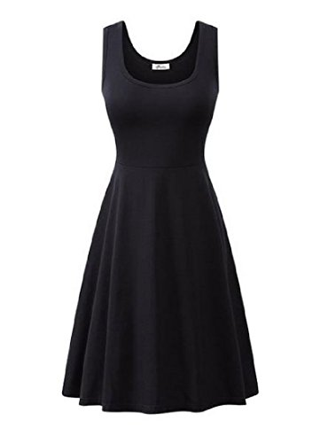 Coolred-femmes Cou Slim Fit U Grand Ourlet Sans Manche Solide Chic, Mini-robe Noire