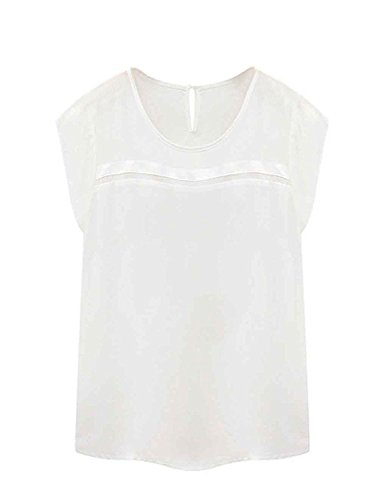 FACE N FACE Women's Silk Chiffon Short Sleeve Summer Shirt Ladies Tops Blouses X-Large White