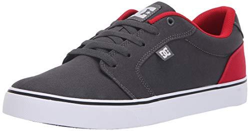 DC Men's Anvil Tx Skate Shoe, Dark Shadow/True red, 8.5 D M US