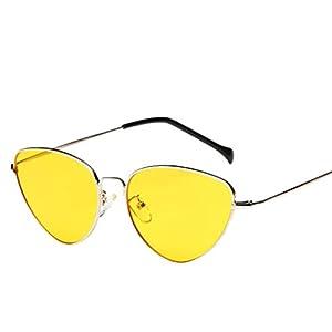 Travel Sunglasses,Baomabao Unisex Summer Vintage Retro Cat Eye Glasses Fashion Aviator Mirror Lens (Yellow, Multicoloured)