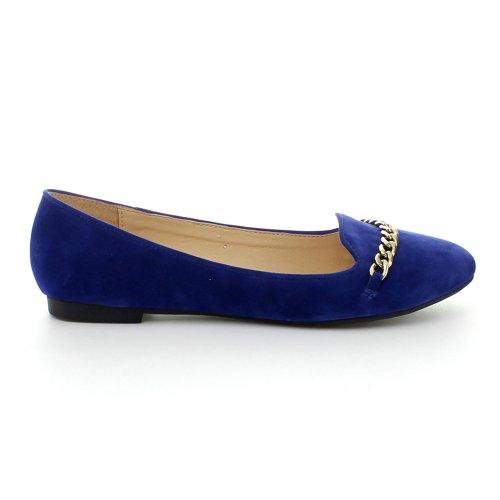 Aggiorna Stacy-02 Donna Dettaglio Catena Slip On Flats Appartamenti Mocassino, Colore: Blu Royal, Dimensioni: 6.5