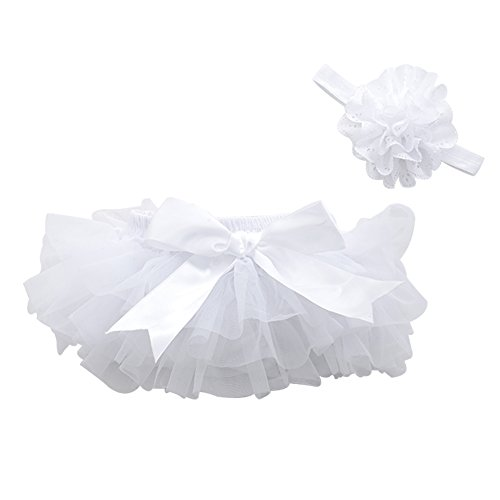 muyan Girls Cotton Tulle Ruffle with Bow Baby Bloomer Diaper Cover and Headband Set (White, M(6Month-12Month)) ()