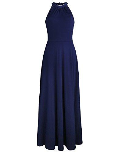 STYLEWORD Women's Off Shoulder Elegant Maxi Long Dress(Navy,M)