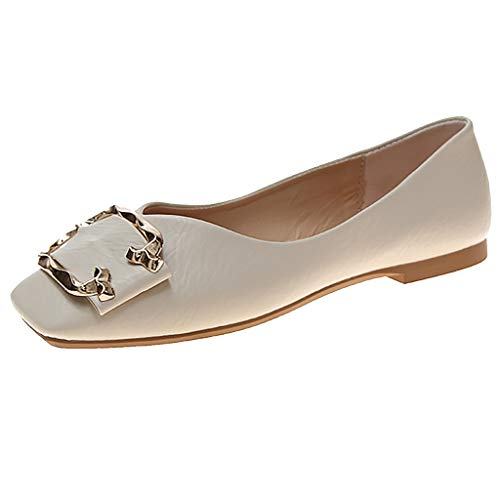 Aunimeifly Ladies Stylish Square Toe Flat Shallow Casual Single Sandals Women Buckle Decor Work Shoes Beige