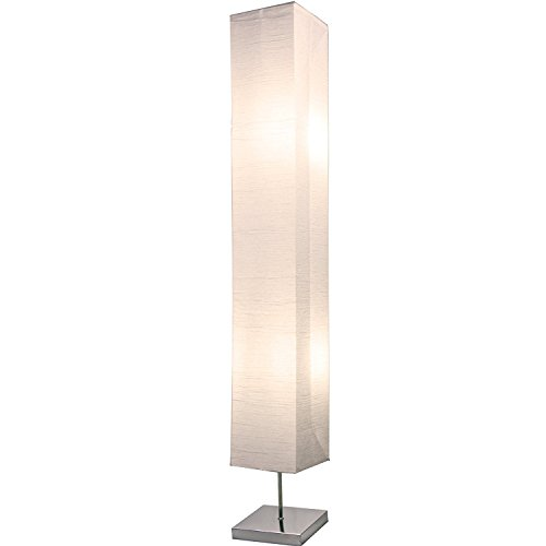 (Light Accents HONORS Chrome Floor Lamp Japanese style standing 50 Inches Tall with White Paper)