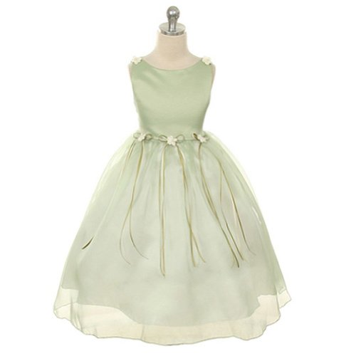 Rose Flower Girl Bud - Kids Dream Little Girl 4 Sage Rosebud Organza Flower Girl Dress