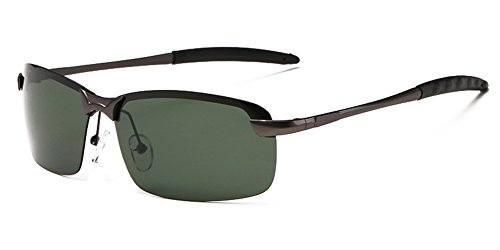 Aoron Men's Fashion UV400 Protection Polarized Sunglasses with Dark-green Lens Metal Gun-gray Frame (Rimless Metal Free So Sunglasses)