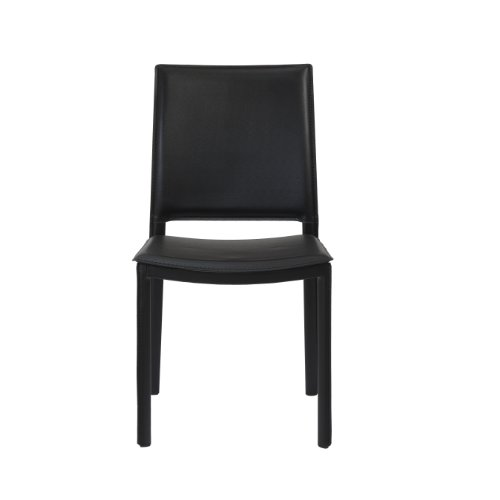 Eurø Style Kate Leatherette Side Dining Chair, Set of 4, Black (Leather Euro Style Chair)