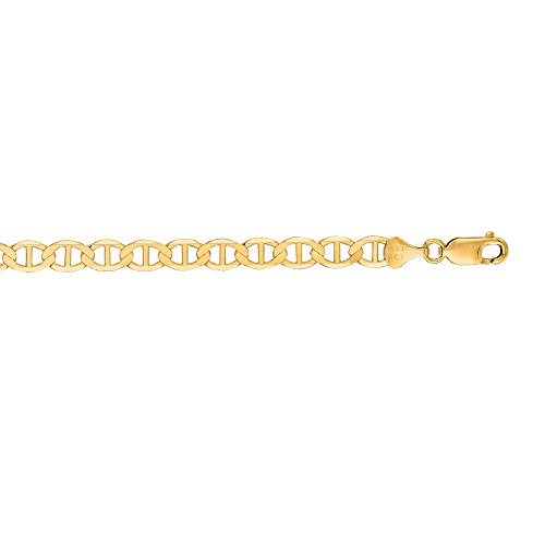 14kt Yellow Gold Diamond Cut Mariner Link Chain with Spring Ring Clasp (22, 6.3mm)