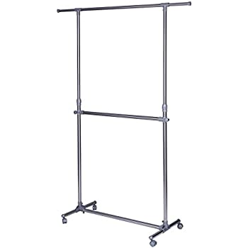 SONGMICS Double Rod Clothes Rack for Hanging Clothes Garment Clothing Rack with Wheels Height Adjuatable ULLR401