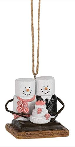 Marshmallow Ornament - Midwest-CBK S'mores Bride and Groom with Wedding Cake Ornament