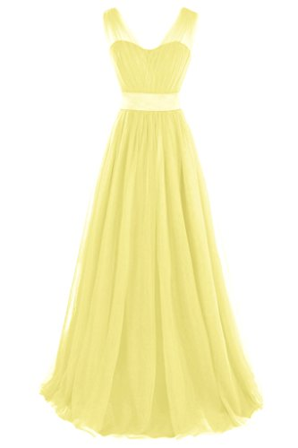 Topdress Women's Long Bridesmaid Dress Tulle Prom Dress V Neck Evening Gown Yellow US 22Plus
