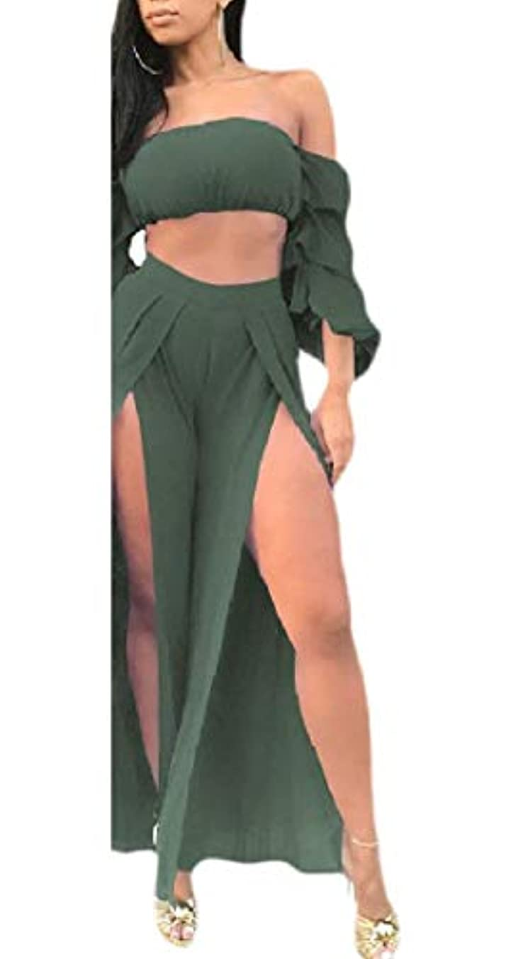 組立限界スカープmaweisong 女性セクシーな帝国ウエストピュアカラー側スプリットチューブトップシャツとパンツ