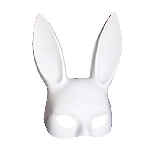 Soochat White Bunny Mask Masquerade Rabbit Mask Bunny Half Mask for Birthday Party Easter Halloween Costume Accessory]()