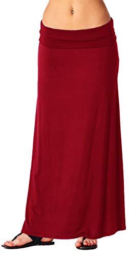 Popana Womens Casual Long Convertible Print Maxi Skirt Plus Size - Made in USA Burgundy XL