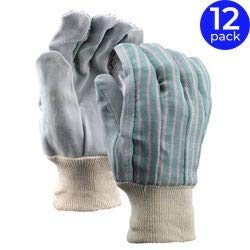 Economy Leather Palm Gloves - Stauffer Leather Palm Gloves with Knit Wrist, Economy Grade, Women's | Cotton Back Material, Gray/Green Color, Cut and Sewn - (Pack of 12)