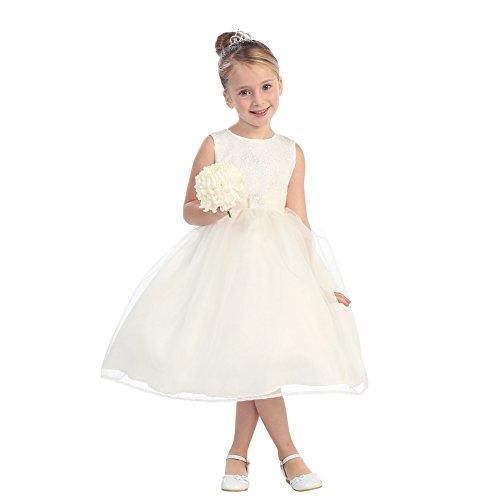 Little Girls Ivory Organza Glitter Pleated Sash Elegant Flower Girl Dress 4 (Kids Top Tip Dresses)