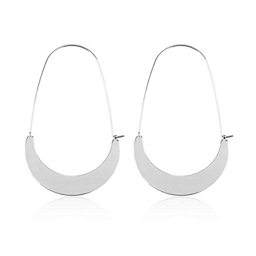 KPA Fashion Women's Lightweight Curved Half Moon Threader Dangles - Crescent Moon Metallic Hoop Earrings (Flat Crescent Moon - Silver)