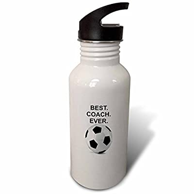 "3dRose wb_236316_2 ""Best Coach Ever soccer ball Flip Straw"" Water Bottle, 21 oz, White"