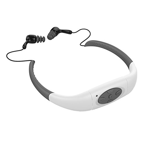 Sports Music Headset, Built-in 8GB Memory Underwater MP3 Player Radio FM Head Wearing MP3 Players Diving Swim Surfing Sports Super Waterproof IPX8 (8GB Memory, White)