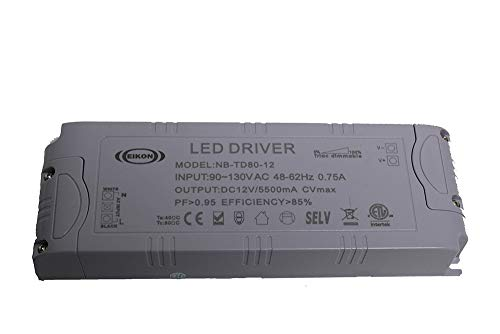 NovaBright Electra 80 Watt 12V TRIAC Dimmable LED Driver Transformer for LED Strip Lights Constant Voltage ETL Compatible w/Lutron & Leviton For Kitchen Cabinets, Crown Molding NB-TD80-12 (Nb Led)