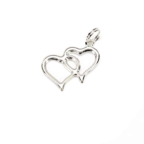 Dreampartycreation Double Linked Heart Charms Wedding Favor Embellishment Decoration Silver 20 Piece Pack