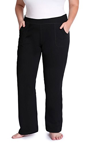 the buti-bag company Plus Size Yoga Pants with Front Pockets, Generously Oversized, Thick Cotton Jersey, 2X/3X (Size 22-24) Black
