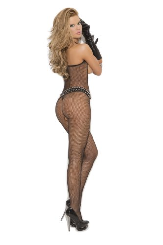 Elegant Moments Women's Fishnet Bodystocking with Open Bust and Crotch