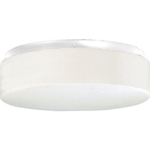 Two Light White Contoured Acrylic - Progress Lighting P7376-30 2-Light Ceiling Fixture 13 Watt 120 Volt NPF Electronic White Hard-Nox