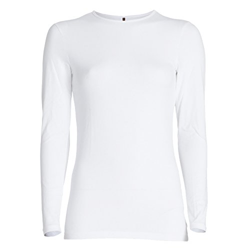 Esteez Long Sleeve Base Layering T-Shirt for Women Relaxed FIT White X-Large