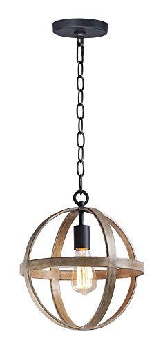 (Maxim Lighting 27571APBK Compass - One Light Pendant, Antique Pecan/Black Finish)