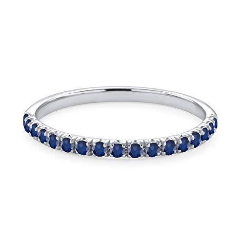 September Birthstone Natural Blue Sapphire Half Eternity Wedding Band Ring in 14K Gold ()