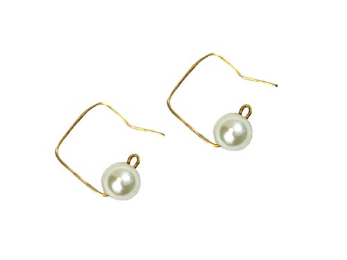 Li-Jacobs Gold-tone Handcrafted Handmade Square Earrings with Synthetic Pearls Fashion Jewelry