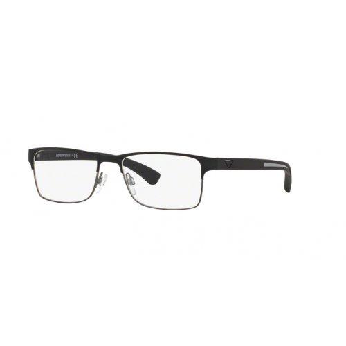 - Armani EA1052 Eyeglass Frames 3094-55 - Black Rubber/matte Gunmetal