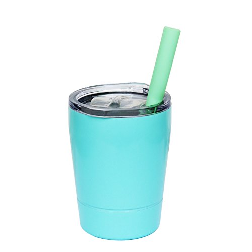 tainless Steel Cup Lovely Small Rambler Tumbler Sippy Cup with Lid and Silicone Straw, 8.5 OZ (1, Teal) ()