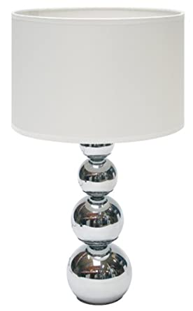 Ranex 10.011.96 Lámpara de mesa táctil y moderna, con base de columna de esferas y bombilla E14, max 40W, cromada y pantalla blanca