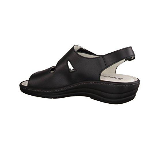 Slowlies 161- Damenschuhe Sandale bequem / lose Einlage, Schwarz, leder (rindnappa), absatzhöhe: 30 mm