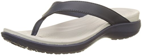Blue Croc Leather - Crocs Women's Capri V Flip, Navy/Pearl White, 10 M US