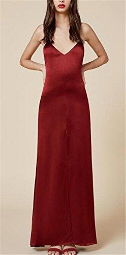 Women's Sexy Deep V Neck Strap Evening Formal Slip Long Dress Gowns Burgundy S