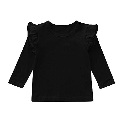 Hometom Little Girls Double Ruffle Solid Tank Top Newborn Baby Girl Sleeveless Tops T-Shirt Clothes (Long Sleeve Black, 12-18 Months)