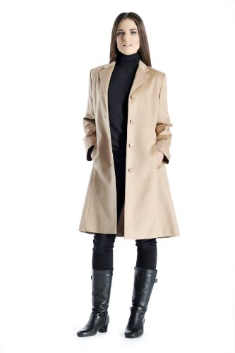 Cashmere Womens Overcoat - Women's Knee Length Overcoat in Pure Cashmere (Camel, 10)