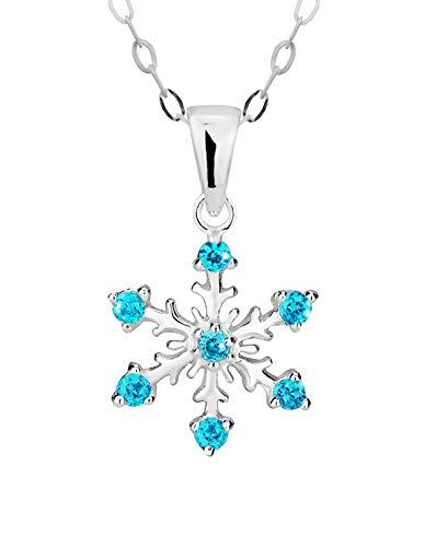 Hypoallergenic Sterling Silver Aqua CZ Simulated Diamond 17.5