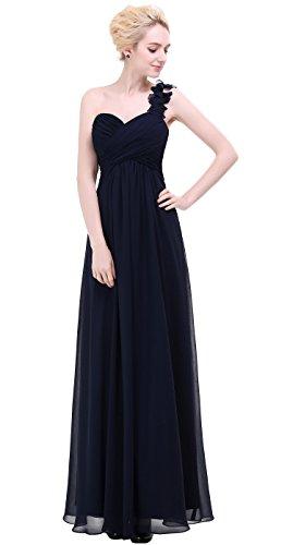Bridesmaids Long Navy Party Prom Shoulder Waist Evening Flower Dress One Empire esvor qUz48