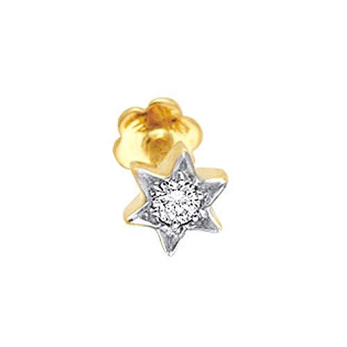 14K /18K Gold Natural Diamond Hallmark Nose Piercing Pin Mini Star Stud - Customize Rose, Yellow or White Gold
