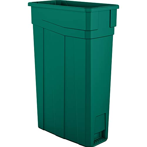 AmazonBasics 23 Gallon Commercial Slim Trash Can, No Handle, Green, 4-Pack ()
