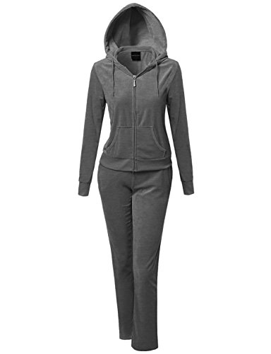 Made by Emma Athletic Soft Velour Zip-Up Hoodie Sweatpants Set Charcoal (Memorial Set)