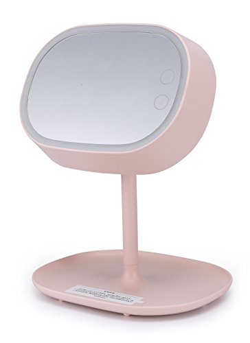 Xinzhi Dimmable Touch Sensor LED Light Rechargeable Folding Makeup Mirror Creative 3-in-1 Cosmetic Mirror Desk Lamp Storage Shelf (Pink)