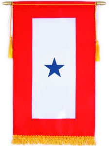 Service Banner - ONE Star Satin 8 in. x 14 in. Blue Star ()