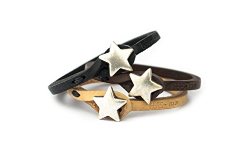 Genuine Italian Leather Bracelet in Multiple Color Combinations | Stone Closure | Handcrafted in Italy (Ginger) (Black Leather with Silver Star, 7.5) (Italian Star)
