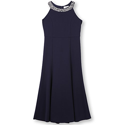 Speechless Girls' Big 7-16 Tween Full-Length Party Dress with Draped Back, Navy, -